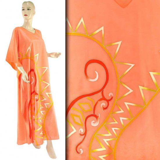 Hand-Drawn Salmon Abstract Batik Kaftan Caftan Dress Abaya 1X 2X 3X (HD867)