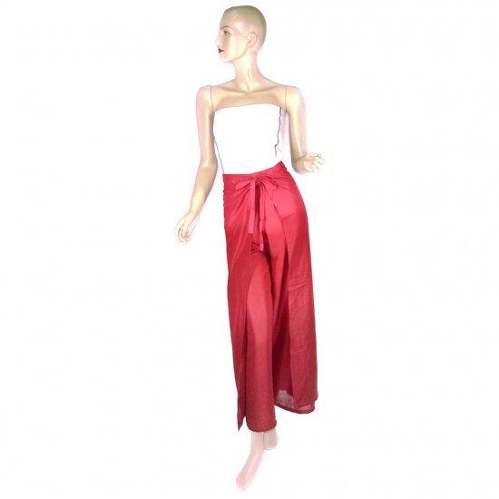 Hippie Red Burgundy Tie-Dye Wrap Pants Beach Cover-Up OSFA (MC165)