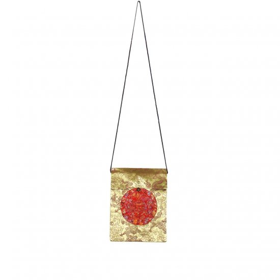 Gold Red Chinese Brocade Sling-Bag Evening-Wear Purse (LFT37)