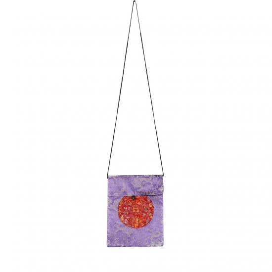 Purple Red Chinese Brocade Sling-Bag Evening-Wear Purse (LFT38)