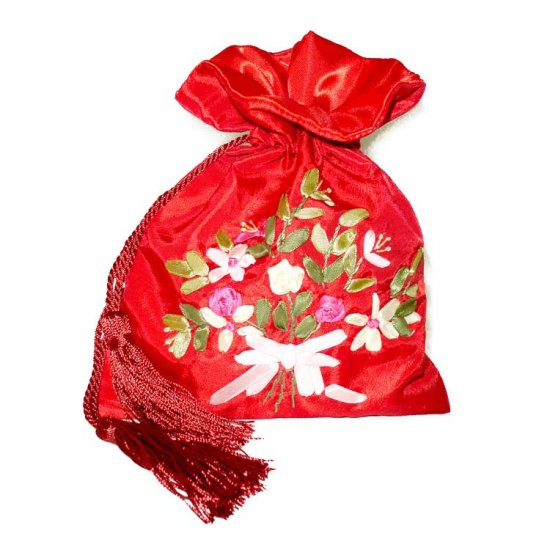 Red Floral Embroidered Evening Bag Purse Draw-String Tassels (LFT22)