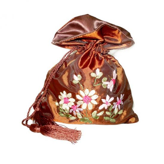 Brown Floral Embroidered Evening Bag Purse Draw-String Tassels (LFT23)