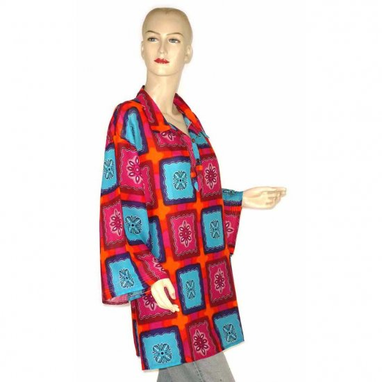 Pink Blue Orange Abstract Shirt Blouse Kaftan 1X 2X 3X (MC124)