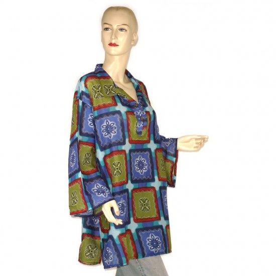Green Blue Burgundy Abstract Shirt Blouse Kaftan 1X 2X 3X (MC125)