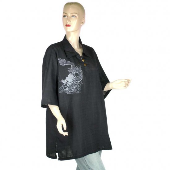 Black Embroidered Dragon Blouse Short-Sleeve Shirt XL 1X 2X (MC175)