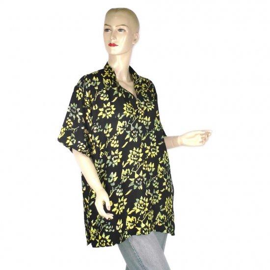Hand-Drawn Black Floral Batik Shirt Blouse Top L XL 1X (MC171)