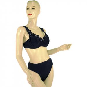 2-Piece Navy Blue Bra Top Bikini Swimwear With Eyelet Details L (PS37)