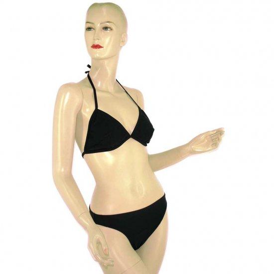 2-Piece Black Halter-Top Bikini Swimwear L (PS9)