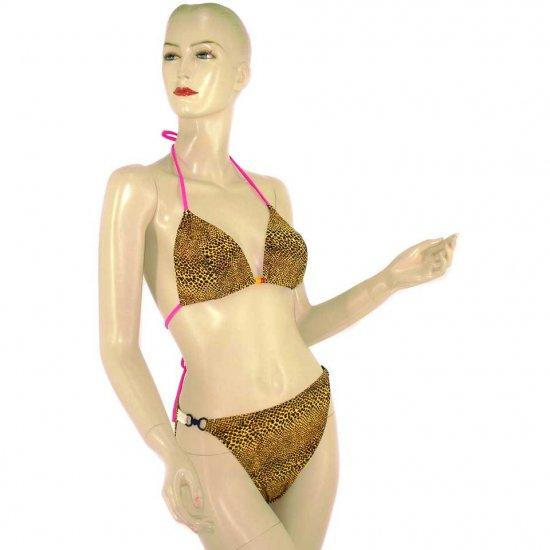 2-Piece Leopard Print Halter Top Bikini Swimwear M (PS22)