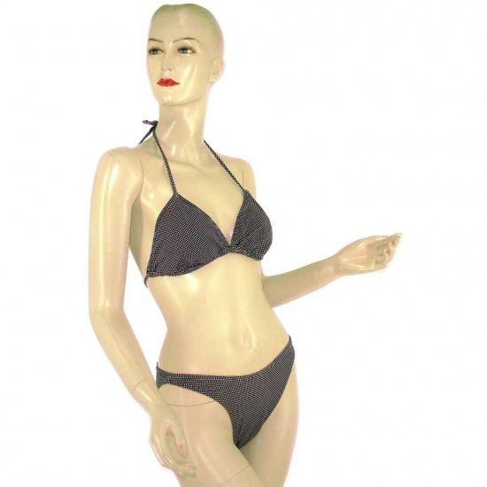 2-Piece Black White Polka Dot Halter Bikini Swimwear M (PS23)