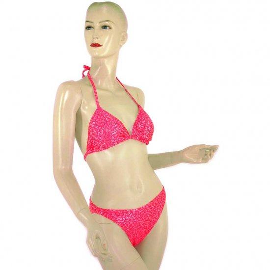 2-Piece Fuchsia Pink Shell Halter-Top Bikini Swimwear M (PS30)