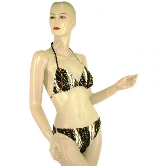 2-Piece Black White Chain Halter-Top Bikini Swimwear M (PS35)