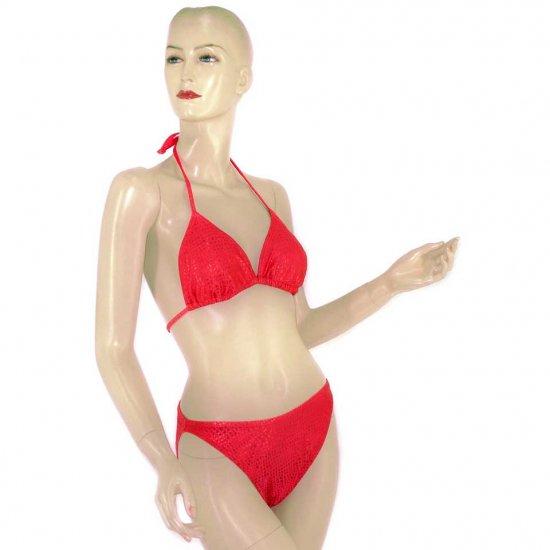 2-Piece Red Checkered Halter-Top Bikini Swimwear L (PS36)