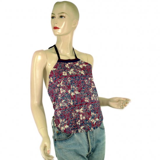 Purple Batik Chinese Style Du-Dou Halter-Neck Top OSFA (KTN2)