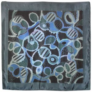 Hand-Drawn Arty Gray Abstract Batik Silk Scarf Bandana (HDS94)