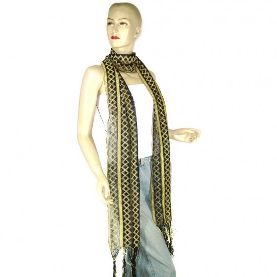 Indian Black Yellow Polyester Woven Scarf Neck-Warmer (DS11)