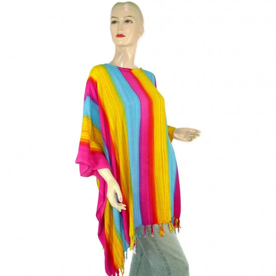 Pink Blue Yellow Stripes Poncho Tunic Kaftan Caftan Blouse 1X 2X 3X 4X 5X (MN5607)