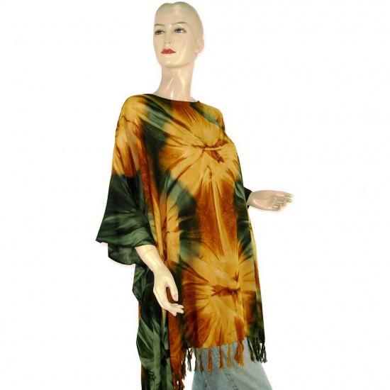 Hippie Tie-Dye Batik Poncho Tunic Kaftan Caftan Blouse 1X 2X 3X 4X 5X (MN5729)