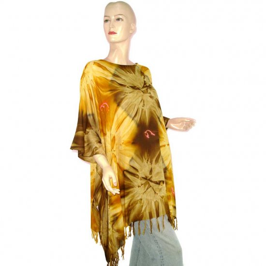 Hippie Tie-Dye Batik Poncho Tunic Kaftan Caftan Blouse 1X 2X 3X 4X 5X (MN5824)