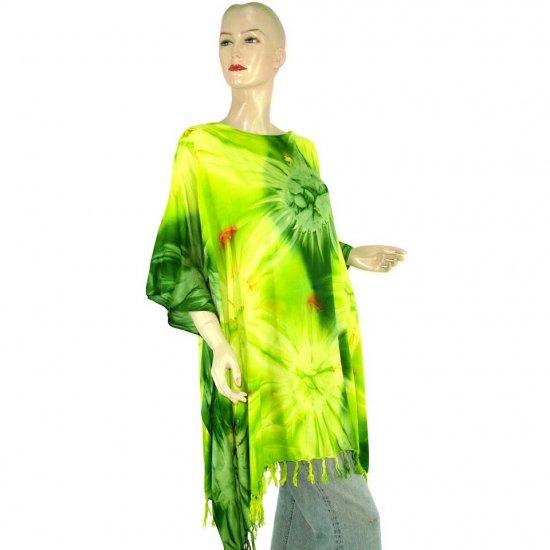 Hippie Tie-Dye Batik Poncho Tunic Kaftan Caftan Blouse 1X 2X 3X 4X 5X (MN5826)