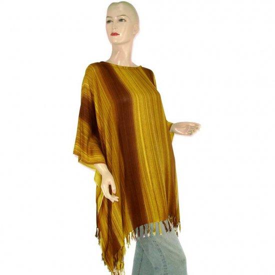 Brown Stripes Poncho Tunic Kaftan Caftan Blouse 1X 2X 3X 4X 5X (MN5831)