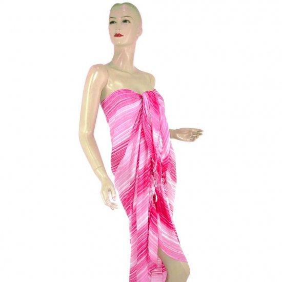 Pink Stripes Print Sarong Pareo Skirt Dress Wrap Shawl Beach Cover-Up (MP140)