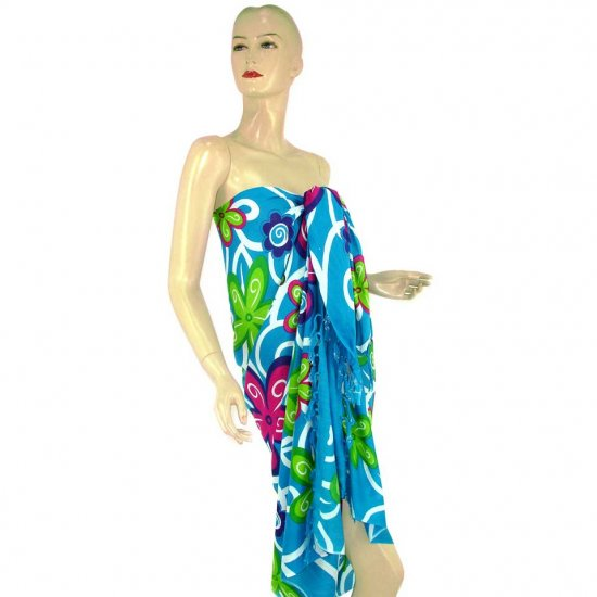 Blue Abstract Floral Print Sarong Pareo Skirt Dress Wrap Shawl Beach Cover-Up (MP141)