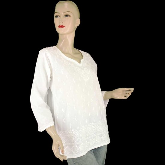 White Embroidered Indian Kurta Kaftan Caftan Shirt Blouse 2 4 6 (MISCI2)