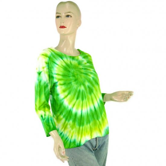 Green Tie-Dye Batik T-shirt Blouse Top S M (MISCI3)