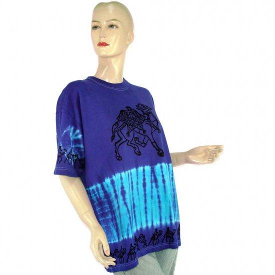 Purple Blue Camel Tie-Dye Batik T-shirt S M (MISCI5)