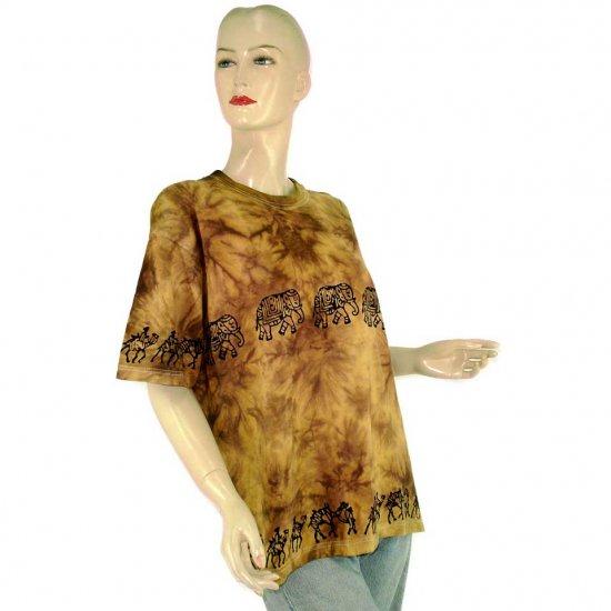 Brown Camel Elephant Tie-Dye Batik T-shirt S M (MISCI6)