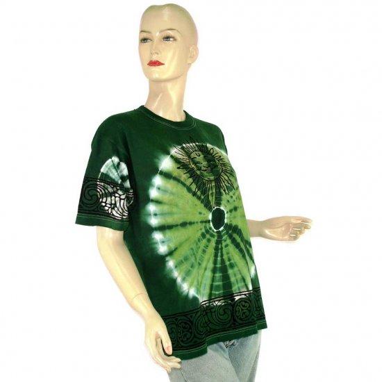 Green White Sun Tie-Dye Batik T-shirt S M (MISCI7)
