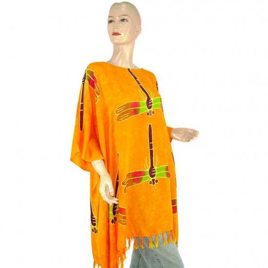 Hand-Drawn Orange Dragonfly Batik Poncho Tunic Kaftan Caftan Top 1X 2X 3X 4X 5X (MN6178)