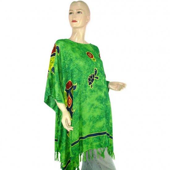 Hand-Drawn Green Turtle Batik Poncho Tunic Kaftan Caftan Blouse 1X 2X 3X 4X 5X (MN6213)