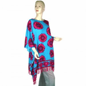 Blue Fuchsia Sunflower Poncho Tunic Kaftan Caftan Blouse Maternity Pregnancy ONE SIZE (MN4575)