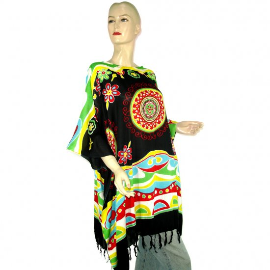 Black Abstract Floral Print Poncho Tunic Kaftan Caftan Blouse Maternity Pregnancy ONE SIZE (MN5971)