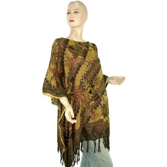 Brown Abstract Batik Floral Leaf Poncho Tunic Kaftan Blouse Maternity Pregnancy ONE SIZE (MN6293)