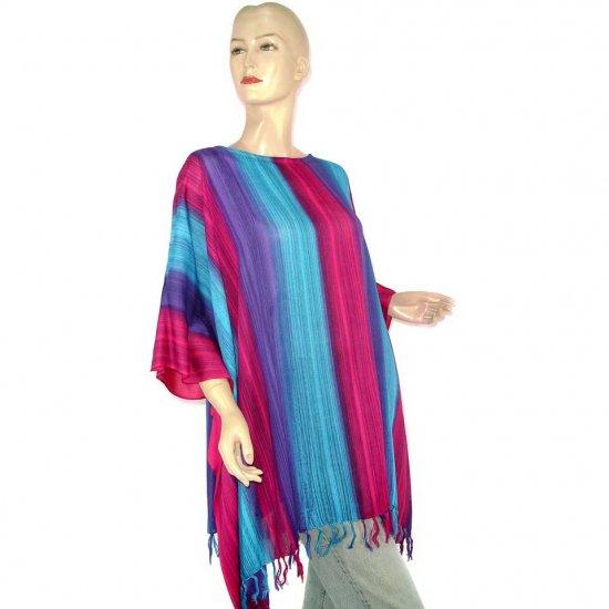 Blue Fuchsia Purple Stripes Poncho Tunic Kaftan Blouse Maternity Pregnancy ONE SIZE (MN6351)