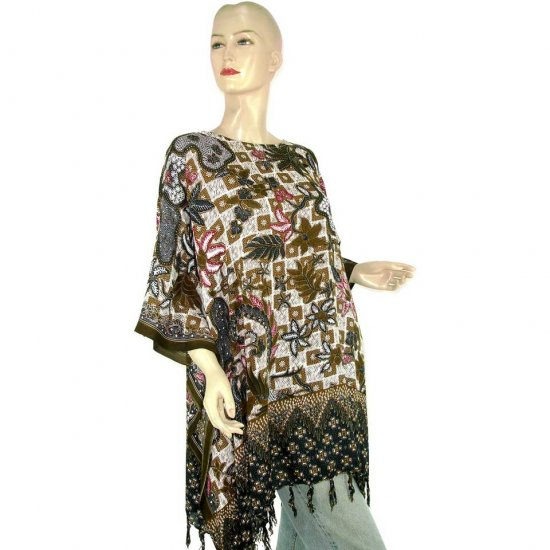 White Abstract Batik Floral Leaf Poncho Tunic Kaftan Blouse Maternity Pregnancy ONE SIZE (MN6359)