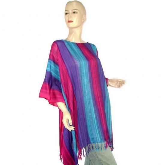 Blue Fuchsia Purple Stripes Poncho Tunic Kaftan Blouse Maternity Pregnancy ONE SIZE (MN6364)