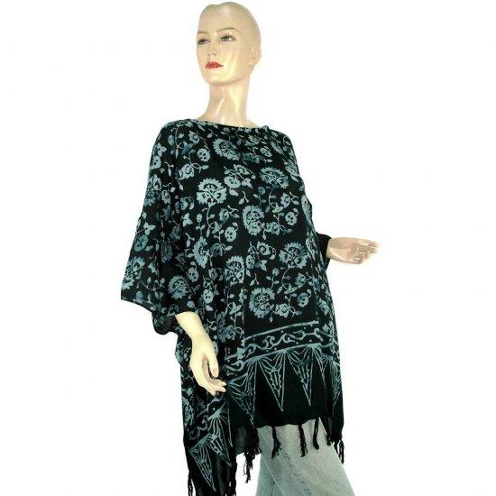 Hand-Drawn Blue-Black Floral Batik Poncho Tunic Kaftan Maternity Pregnancy ONE SIZE (MN6365)