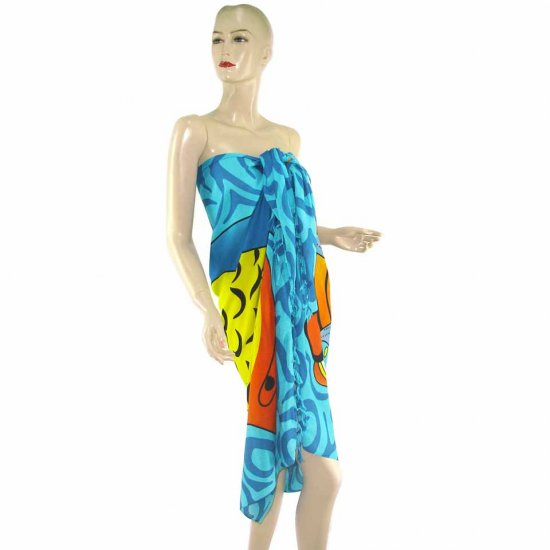 Blue Marine Life Print Sarong Pareo Skirt Dress Wrap Shawl Beach Cover-Up (MP20)