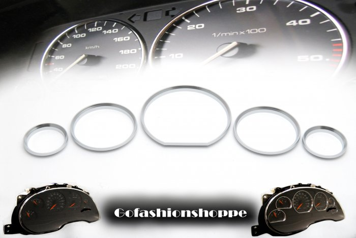 MERCEDES W140 R129 SILVER DASHBOARD GAUGE RINGS KIT - DRB3