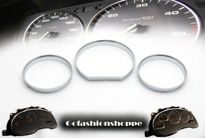 MERCEDES W124 SILVER FINISHED DASHBOARD GAUGE RINGS - DRB2