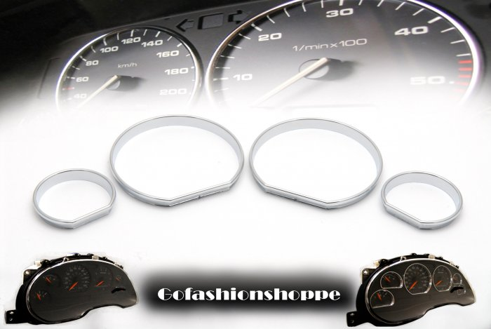 BMW E46 CHROME CLUSTER DASHBOARD GAUGE RING RINGS - DRC2