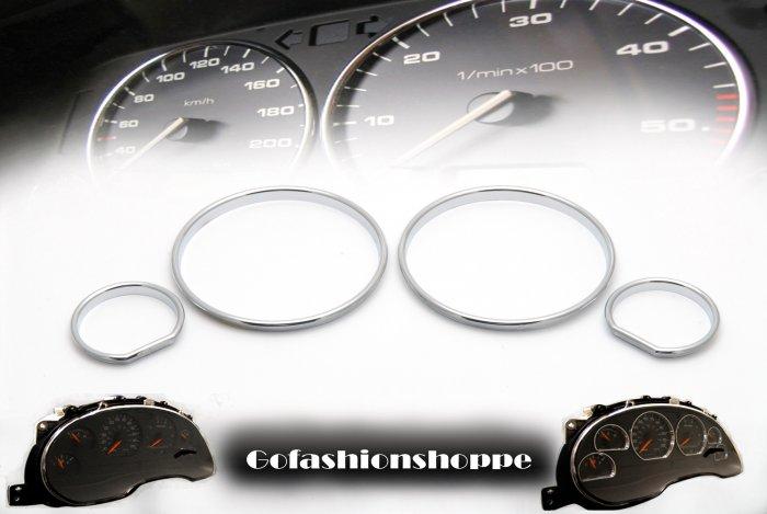 BMW E34 CHROME ABS CLUSTER DASHBOARD GAUGE RING KIT  DRA5