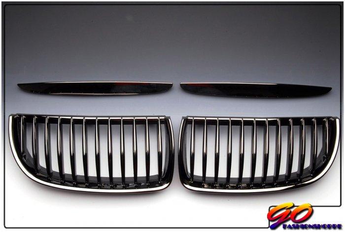 06-08 BMW E90 325 328 330 Black Chrome Front Grille-GRH2