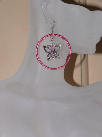 Pink Charles Klein Butterfly Hoop Earrings