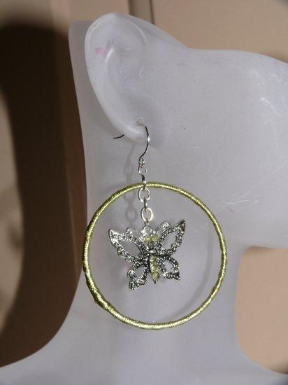 Light Green Charles Klein Butterfly Hoop Earrings