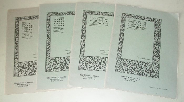 Hooked Rugs  History  4 Lesson Booklets  1926 Issues